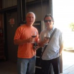 Vahan and Mitchell sampling some Vogelzang wine