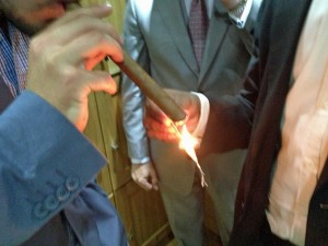 Callum Jones Lighting the £40,000 Regius cigar
