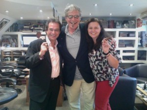 Michael Nouri smoking cigars at the C.Gars office