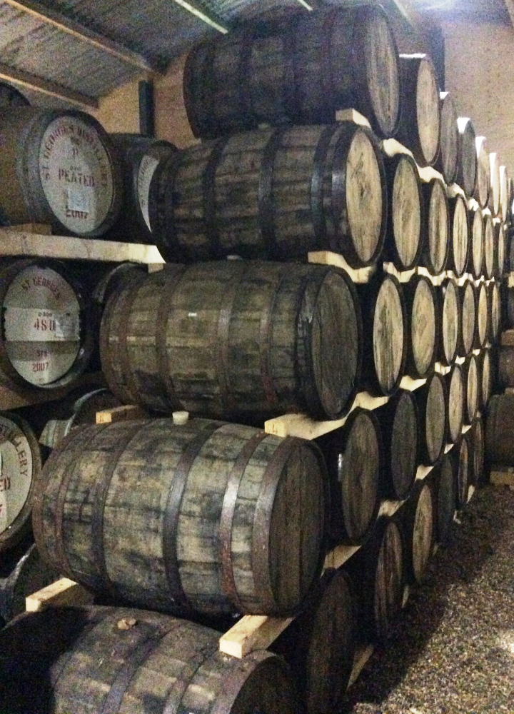 Whisky maturing in casks at St. George's Distillery