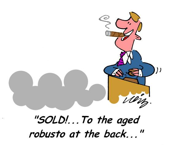Cigar Auction Cartoon - Aged Robusto