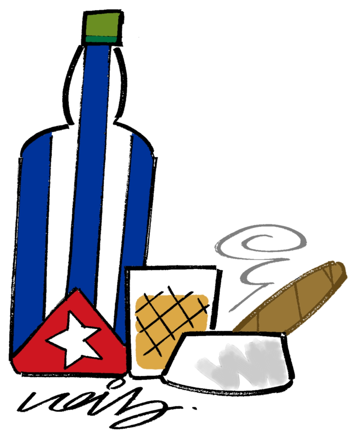 Cuban Cigar cartoon - Whisky and cigars