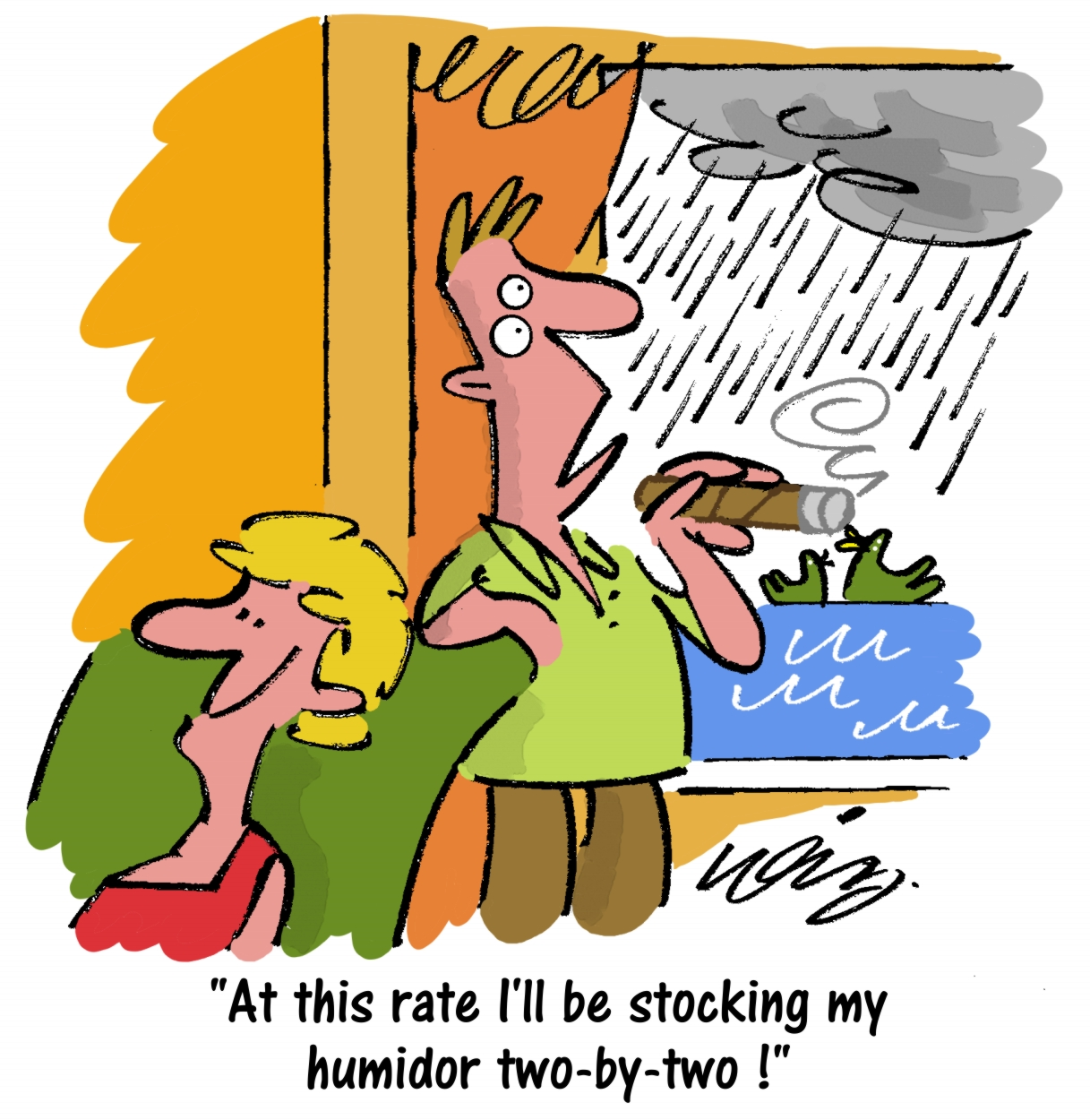 C.Gars Rain Weather Cigar Cartoon
