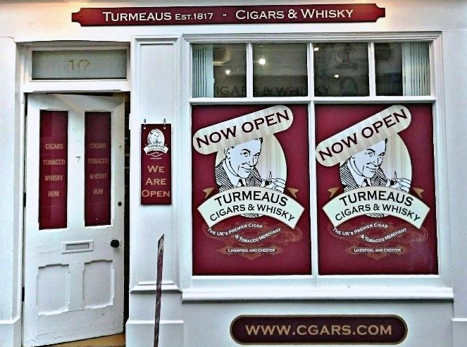 Turmeaus Cigar and Whisky Shop front Knutsford, Cheshire