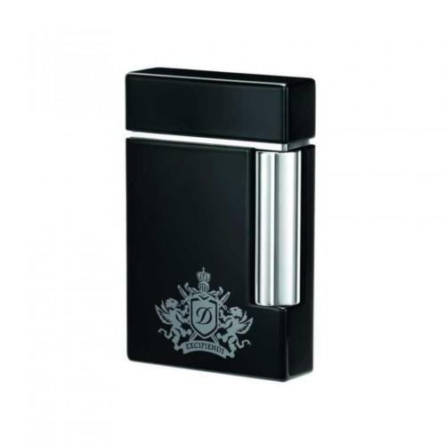 ST Dupont Lighter - Black Lacquer Coat of Arms - Ligne 8
