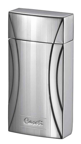 Caseti Flower Pattern Jet Flame Lighter - Chrome Plated & Engine Turn (End of Line)