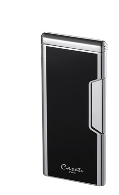 Caseti Push Button Lighter - Chrome Plated & Black Lacquer