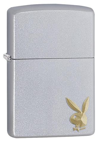 Zippo - Satin Chrome Playboy - Cornered Bunny - Windproof Lighter