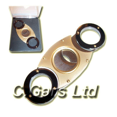 Round End Cigar Cutter - Black and Gold