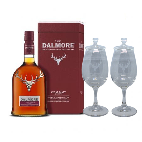 Dalmore Cigar Malt + Two Whisky Glasses Sharing Set Gift Pack