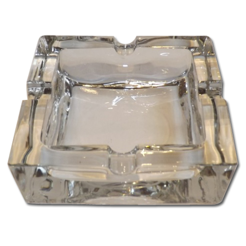 Square Clear Glass Cigarette Ashtray
