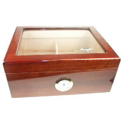 SLIGHT SECONDS - Angelo Glass Top Humidor - High Gloss – 60 Cigars Capacity