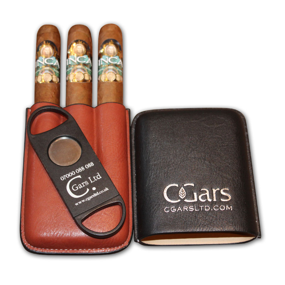 Inca Secret Blend Reserva D'Oro Robusto Cigar - Three Cigars Case and Cutter Set