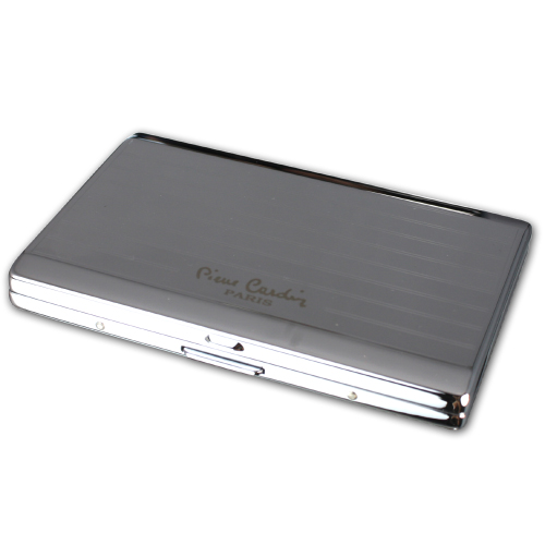 Pierre Cardin Small Cigarette Case - Chrome Lines (End of Line)