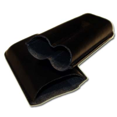 GBD Plain Leather Cigar Case - Two Corona - BLACK