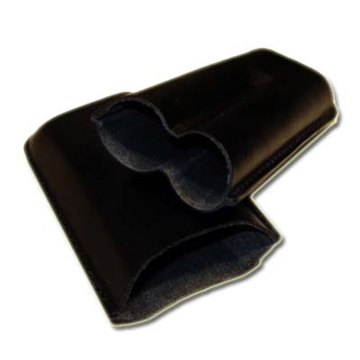 GBD Plain Leather Cigar Case - Two Petit Corona - Black