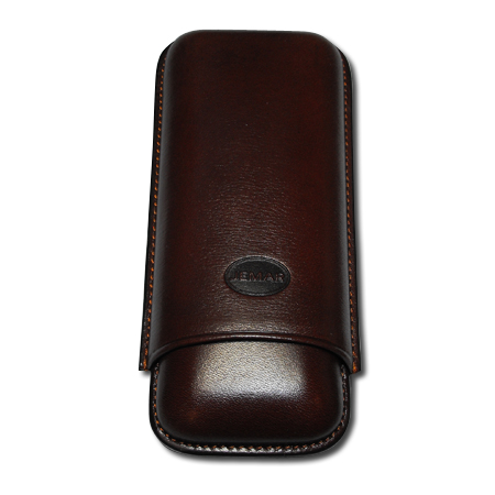 Jemar Leather Cigar Case – Large Gauge - Two Cigars - Brown