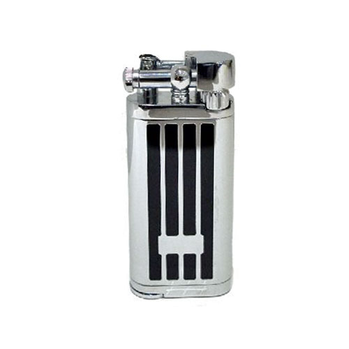 Tycoon Pipe Lighter with Pipe Tamper – Chrome and Black Lines