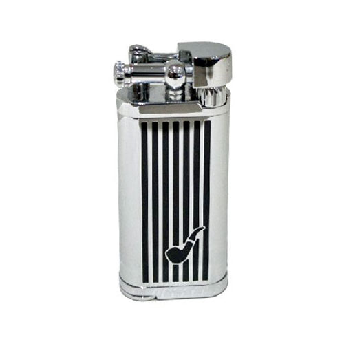 Tycoon Pipe Lighter with Pipe Tamper – Chrome and Black with Pipe Motif
