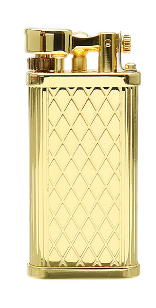 Dunhill - Unique Crosspatch Yellow Gold Plated Lighter