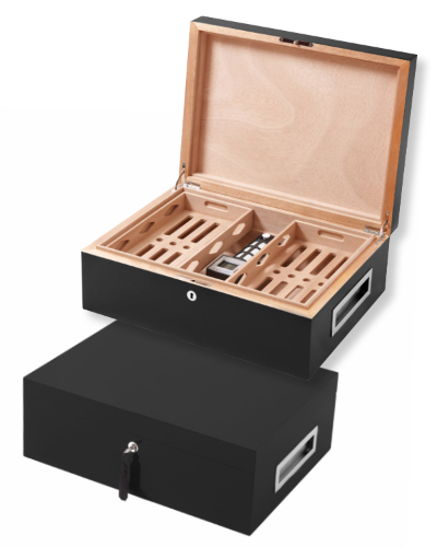Villa Spa Cigar Humidor - up to 200 Cigar Capacity - Black