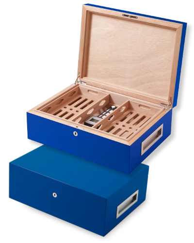 Villa Spa Cigar Humidor – up to 200 Cigar Capacity – Dark Blue