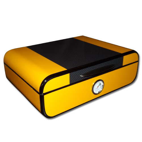 Angelo Yellow and Carbon Fibre Look Humidor – 30 Cigar Capacity