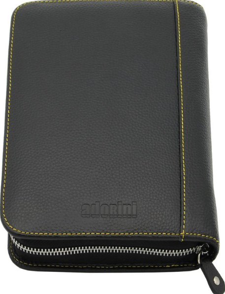 Adorini Cigar Bag Real Leather Yellow Top Stitching