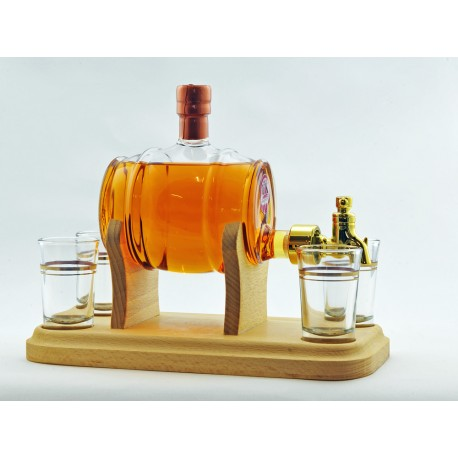 Barrel and 4 Glasses with Tap - 350ml (Stylish Whisky) - 40%
