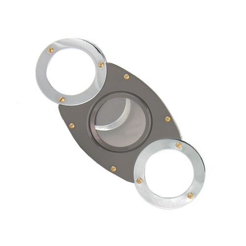 Round Ended Chrome with Gold Studs Cigar Cutter