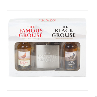 Famous Grouse Miniature & Hip Flask Gift Pack - 2x5cl 40%