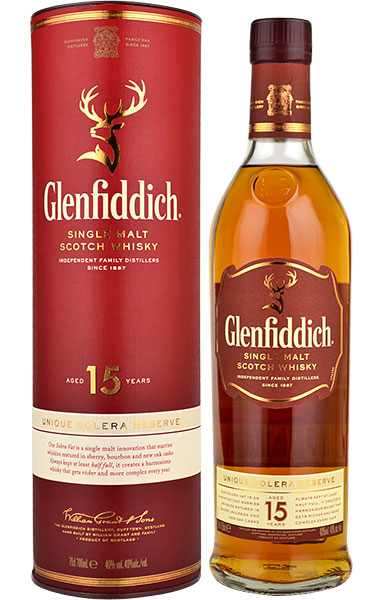 Glenfiddich 15 Year Old Solera Reserve Single Malt Scotch Whisky - 70cl 40%