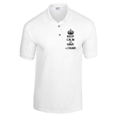 C.Gars Ltd - Keep Calm and Have a Cigar Polo Shirt - White