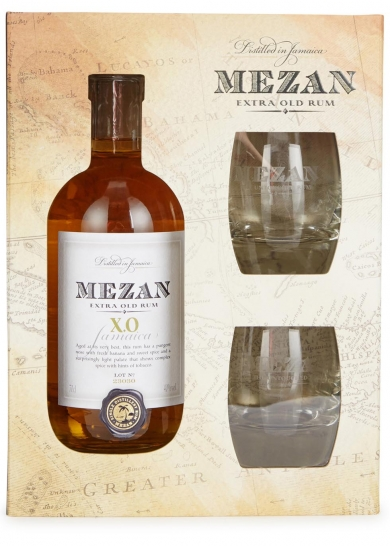 Mezan XO Jamaica Glass Gift Set - 70cl 46%