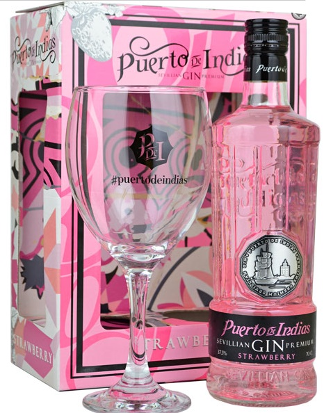 Puerto de Indias Strawberry Gin 70cl + Glass Gift Pack