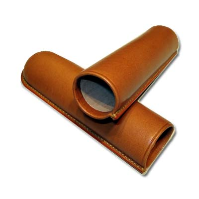 Jemar Leather Cigar Case - Piramides - One Cigar - Tan