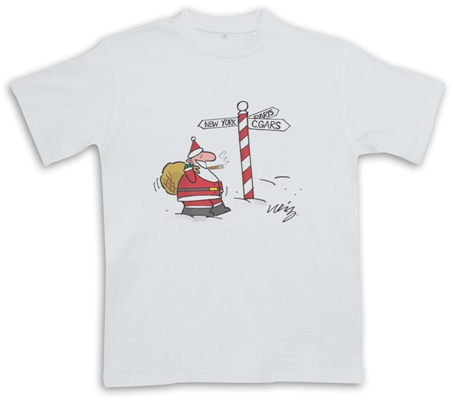 Santa Sign Post  - White - Christmas Cigar Themed T-Shirt