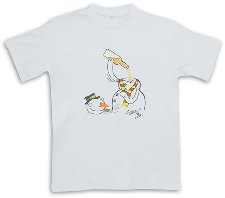 Snowman Drinking Whisky - White - Christmas Whisky Themed T-Shirt