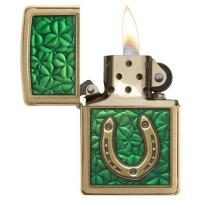 Zippo - Brushed Brass Horseshoe & Clovers - Windproof Lighter