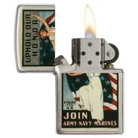 Zippo - Brushed Chrome - US Army Navy Marines - Windproof Lighter