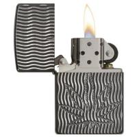 Zippo - High Polish Black Ice Armor Marijuana Leaf - Windproof Lighter