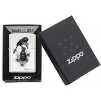 Zippo - White Matte Spazuk Bird & Grenade - Windproof Lighter