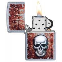Zippo - Street Chrome Rusted Skull Design - Windproof Lighter