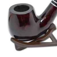 Adsorba Dark Cherry Smooth Apple Full Bent Silver Band Stem Pipe