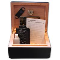 Adorini Carrara Deluxe Black Cigar Humidor - Medium - 60 Capacity