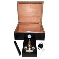 SLIGHT SECONDS - Black with Horizontal Lines Humidor - 50 Cigar Capacity