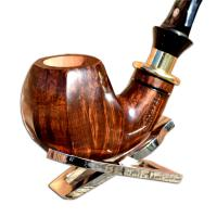 Mastro de Paja Smooth Curved Gold Banded Panelled Italian Pipe with filter (0002