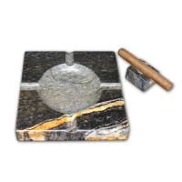 Ashtray and Cigar Stand Set - Natural stone  - Black Fusion Granite