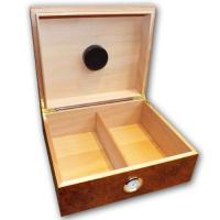 Oxford Dark Burl Cigar Humidor and Budget Cuban Cigar Sampler