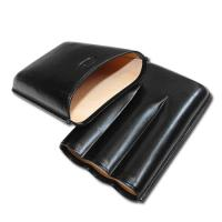Jemar Leather Cigar Case – Large Gauge - Three Cigars - Black